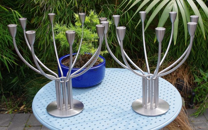 Knut & Marianne Hagberg for IKEA - 8-armed Stainless Steel Design Candlesticks