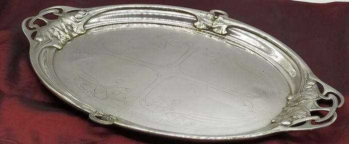 WMF - Art Nouveau Silverplated Oval Serving Tray, ca. 1900's