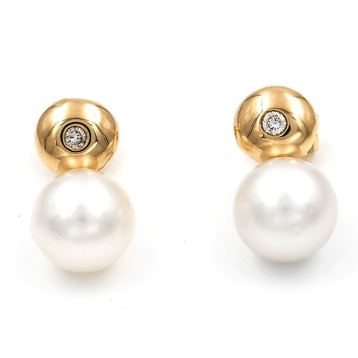 18 kt. South sea pearl, Yellow gold - Earrings Diamond