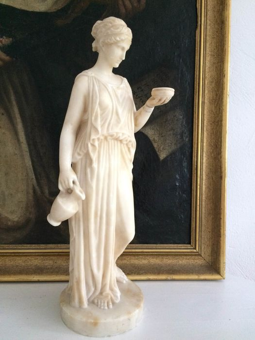 Sculpture of an Ancient Greek woman - Alabaster - 19th century