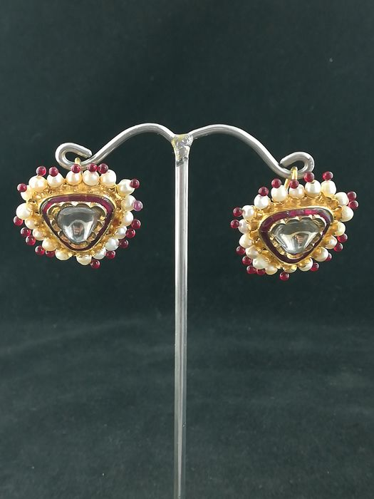 Earrings (2) - Gold 22 kt - Rajasthan, India