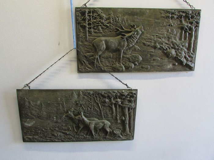 bronze plates hunt venison deer and hinds (2) - Bronze