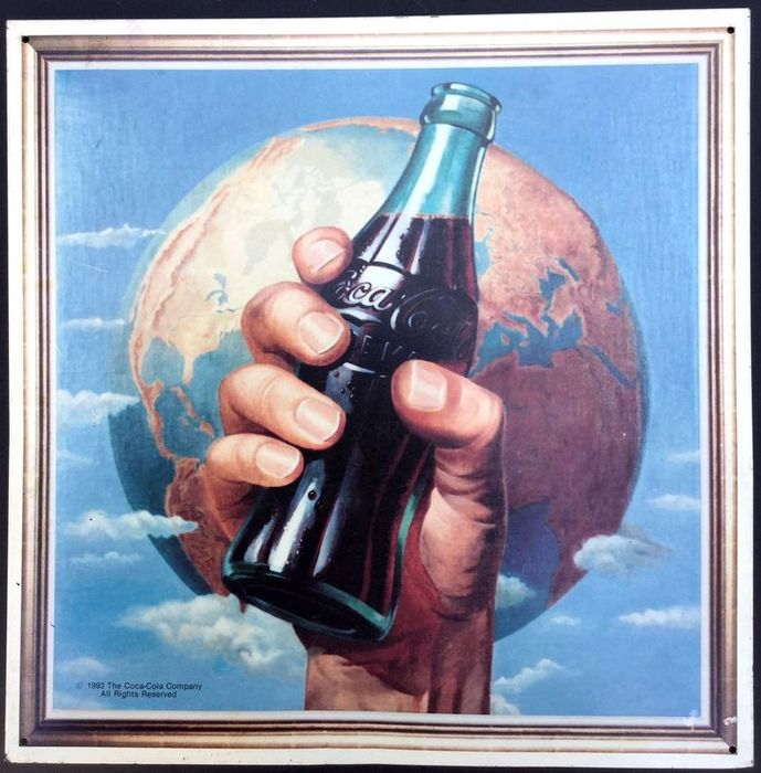 Coca Cola - Beautiful advertising plate from 1993 - Aluminium