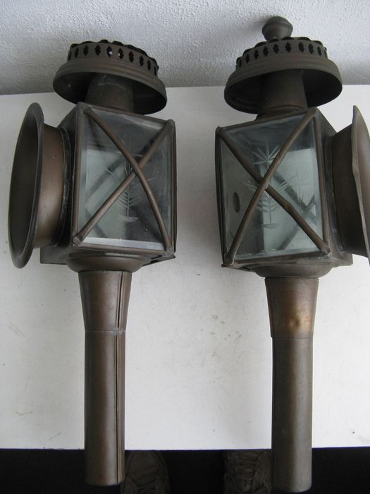 Two carriage lamps - brass and glass