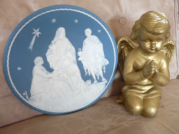 ceramic wall plate weihnacht and golden angel (2) - Ceramic