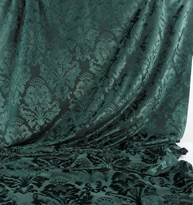 4.50 MT Green damask velvet fabric, pink damask design - cotton blend - 2018
