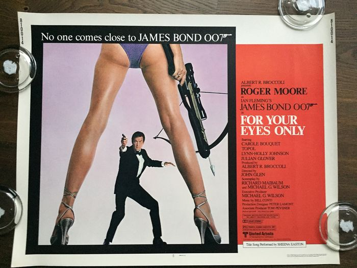 James Bond - 007 - Roger Moore - Cartaz For Your Eyes Only /  Original US Half-Sheet 1981