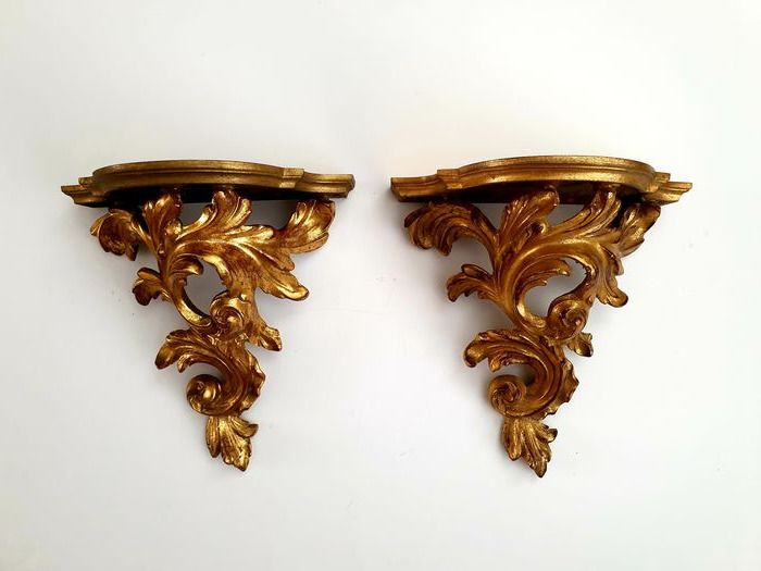 Console duo - Baroque style with gold lacquer - Very beautifully crafted - Wood