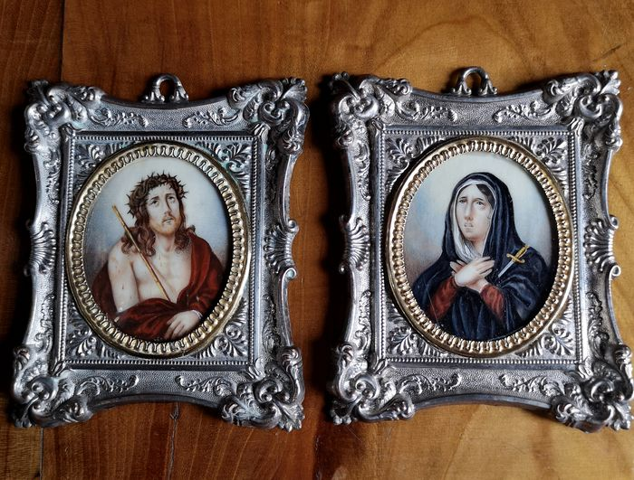 Miniatures of Jesus and the Madonna (2) - Silvered Metal