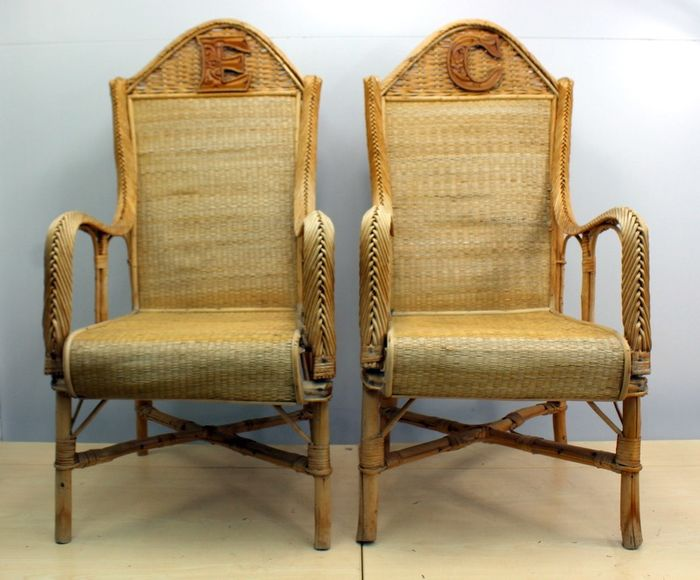 Pair of bamboo chairs with cushion