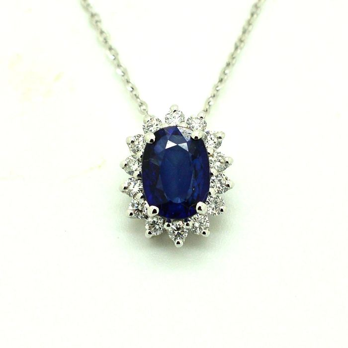 18 kt. White gold - Necklace with pendant - 1.00 ct Sapphire - Diamond