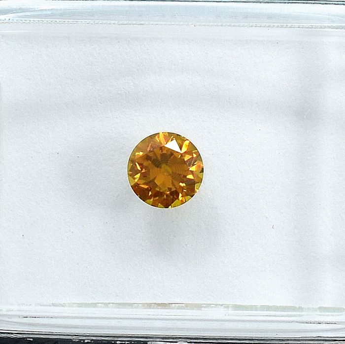 Diamant - 0.32 ct - Brillant - Natural Fancy Deep Yellow Orange - SI2