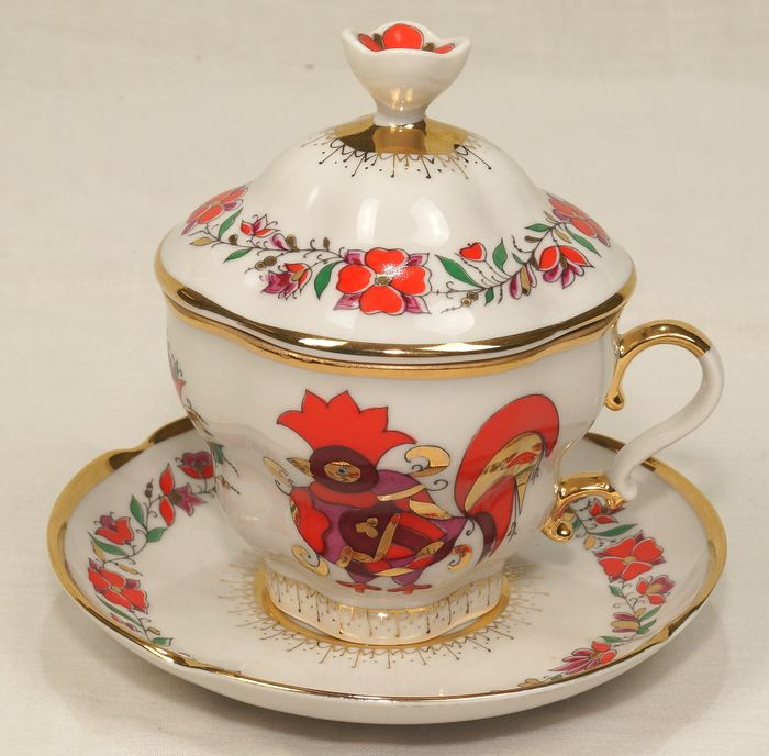 Yakovleva S. E - Lomonosov  Imperial Porcelain Factory IFZ - Chocolate / tea cup with lid. (1) - Porcelain