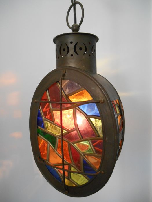 Beautiful Stained Glass Hall Lamp / Lantern - Copper (stained glass)