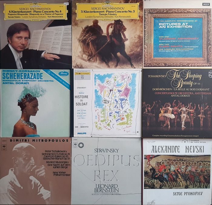 Korsakov, Mussorgsky, Rachmaninov, Stravinsky a.o. - Multiple artists - The Best of Russian Composers - Multiple titles - 2xLP Album (double album), 3xLP Album (Triple album), LP's - 1952/1981
