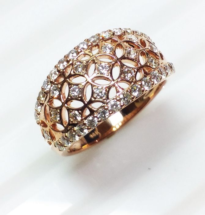 14 kt. Pink gold - Ring - Diamonds