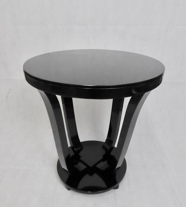 French ART DECO - Side Table with Original Shipping Label - P. Chareau ? (restored)