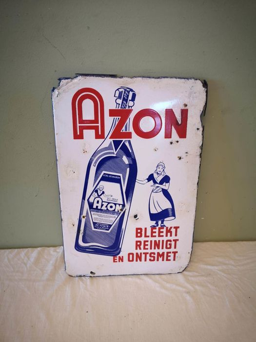 Azon - Langcat Bussum - Old advertising board - Enamel