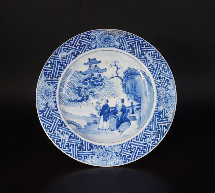 blue and white bowl with old scholar in landscape decor (1) - Blue and white - Porcelain - China - 19th century