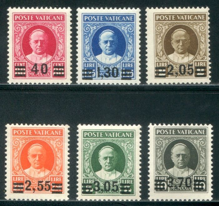 Vatican City 1934 - Complete Provisional set of 6 values - Sassone NN. 35/40