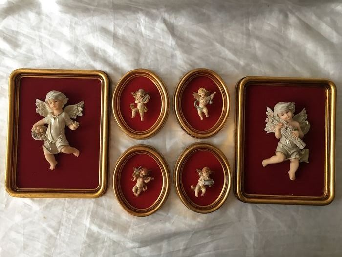 Vintage Christmas six images Guardian Angel Jesus - In wood and gold leaf