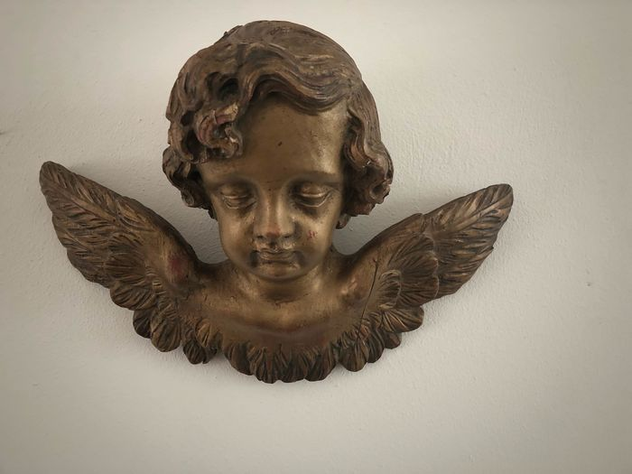 Sculpture, angel head - Wood - 18th / 19th century