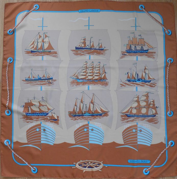 Hermès -  GRAND LARGUE by Pierre Peron 1979 Scarf Scarf