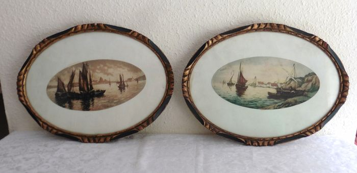 Oval frames with marine (2) - strong waters