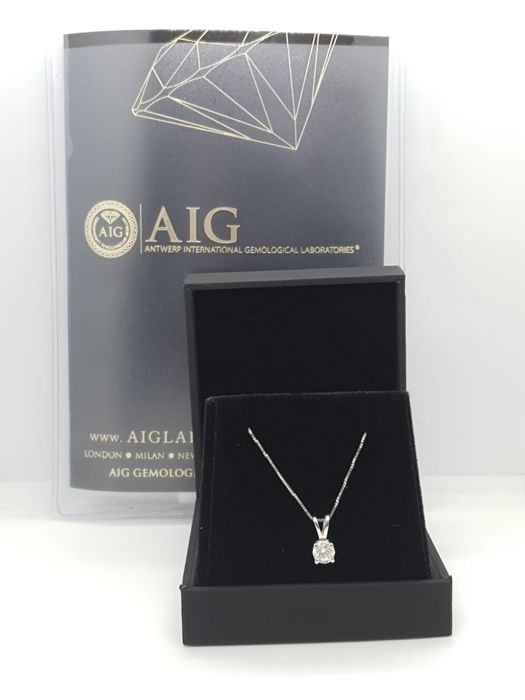 14 kt. White gold, No Reserve Price D VS2 - Pendant, chain 14 Kt 1gr  - 42cm - Clarity enhanced 0.39 ct Diamond