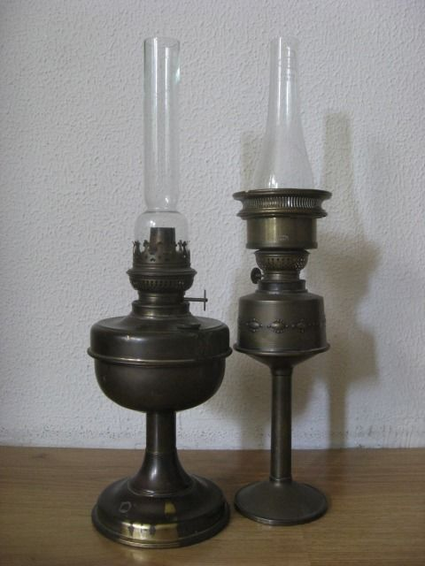 Two Copper Antique Oil Lamps Including Marked Bohemian Crystal Glass, Art Deco, - Copper, Glass, Brass, Prima Prima S.G.D.G.