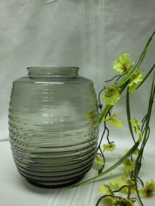 A.D.Copier - Glasfabriek Leerdam - Fumi colored Vase (1) - Ribbed glass