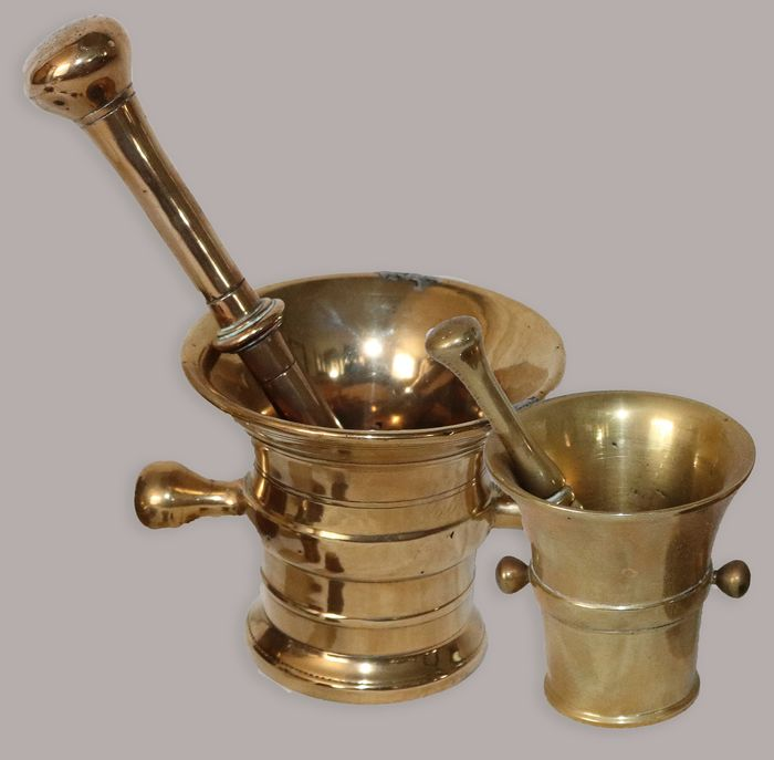 Large and smaller copper auger, both with pestle (2) - Copper