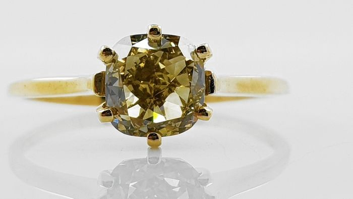 18 kt. Yellow gold - Ring - 1.23 ct Diamond - No Reserve VVS2