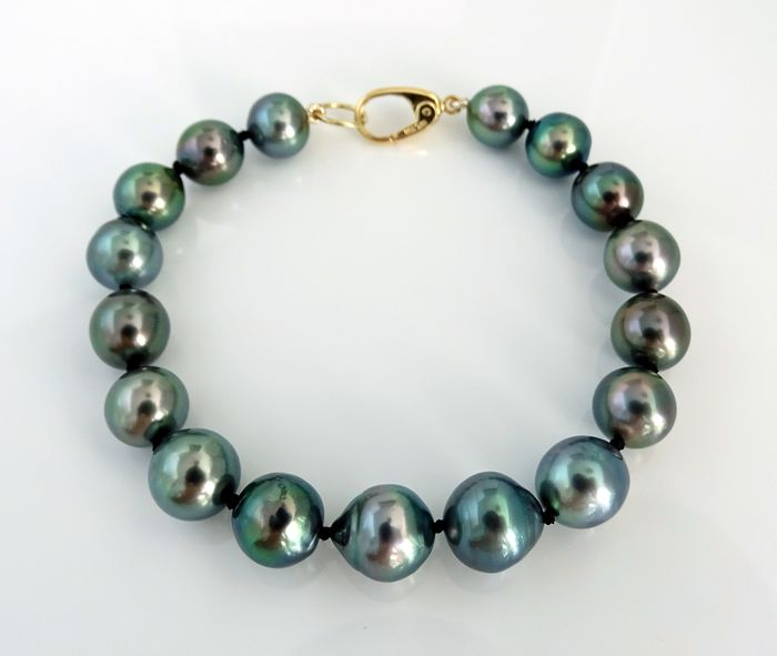 HS Jewellery Tahitian pearls, Deep Peacock Baroque 8.21 mm to 9.88 mm - Bracelet, 18 kt. Yellow Gold