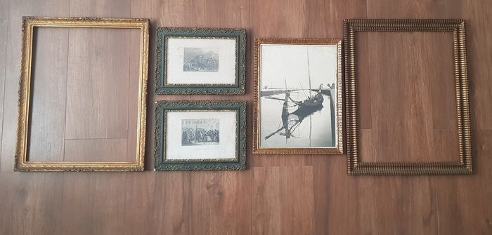 5 Vintage Frames Fully Worked With Paitings  - Wood and Glass