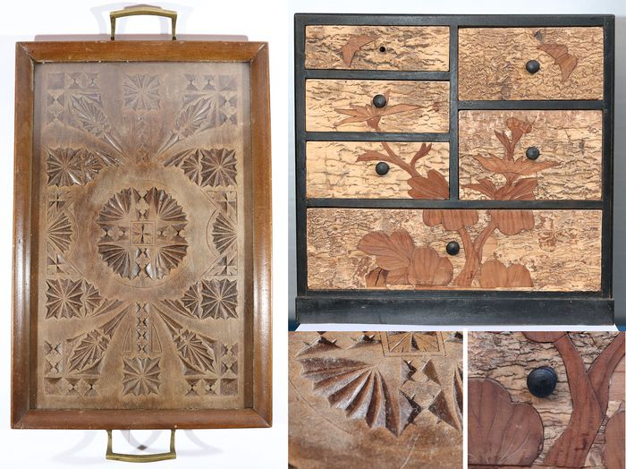 Antique small ornate wooden tray with glass top, 19th century and a small wooden, cork (1) - Glass, Wood