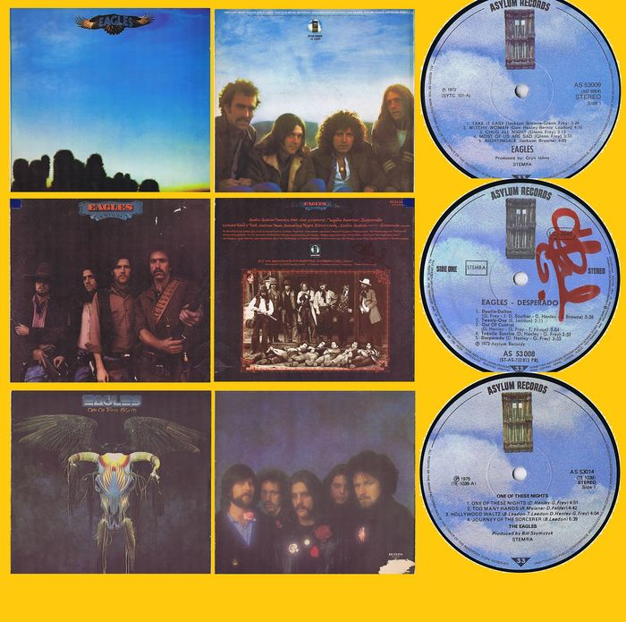 Eagles - 1. Eagles  2. Desperado  3. One Of These Nights  - Multiple titles - LP's - 1972/1975
