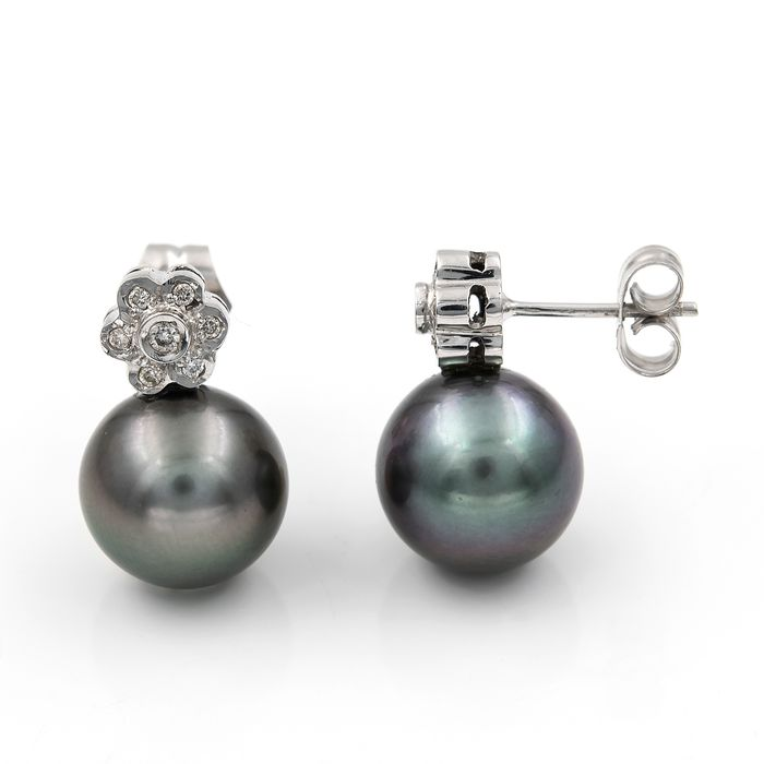 18 kt. Saltwater pearls, Tahitian pearl, White gold - Earrings Diamond
