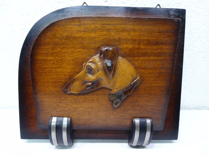Letter holder with greyhound - Wood