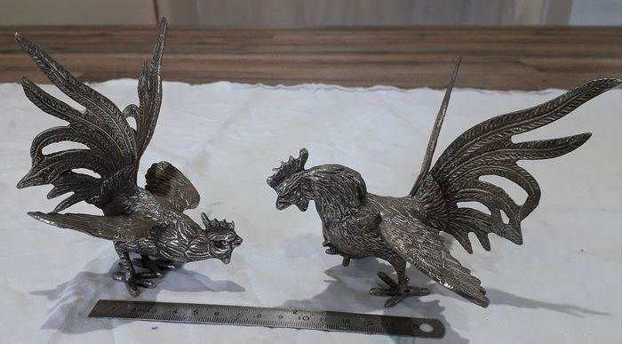 couple of fighters (2) - silver plated