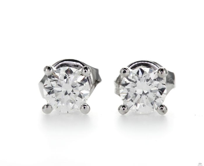 Oro blanco - Pendientes - 0.80 ct Diamante