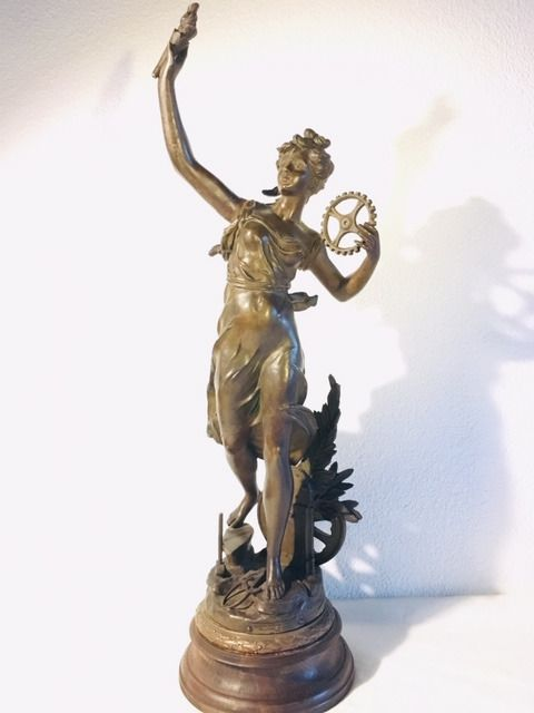 "Émile Bruchon (act. ca. 1880-1910) - Large statue of ""The Industry"" - 70 cm - Regule - about 1900"