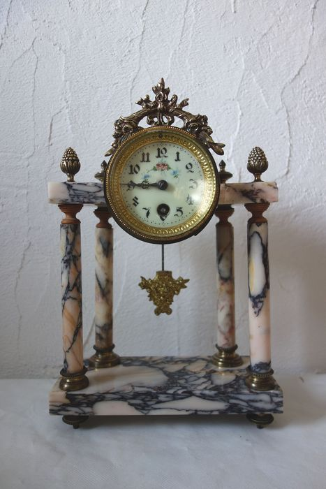 Clusienne clock S.C.A.P.H Cluses Portico Clock column Louis XVI style - Rose Veined Bronze Marble - Early 20th century