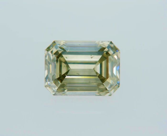 1 pcs Diamond - 1.00 ct - Emerald - fancy greyish green - VS2