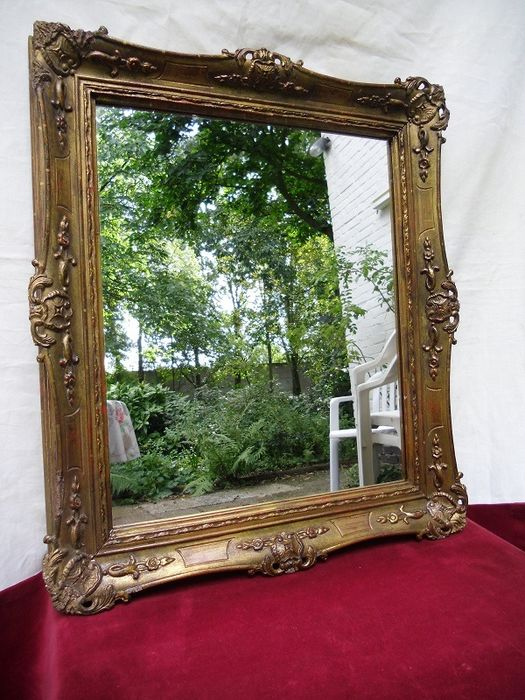 Antique mirror in gold-plated baroque frame - Wood - glass