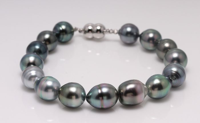 NO RESERVE PRICE - 925 Zilver - 9x10.5mm Peacock Tahitian Pearls - Armband