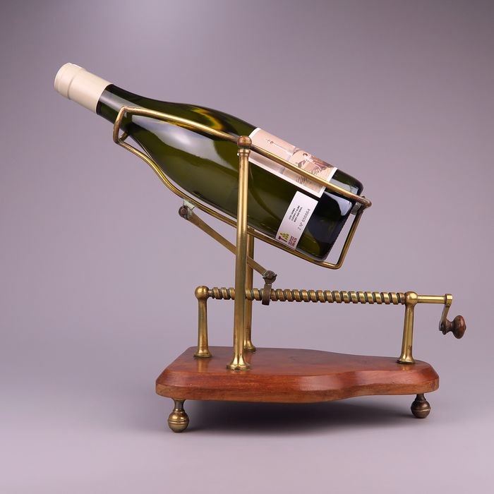 Old Mechanical Wine Decant - Wine Pourer - Brass, Wood- Mahogany