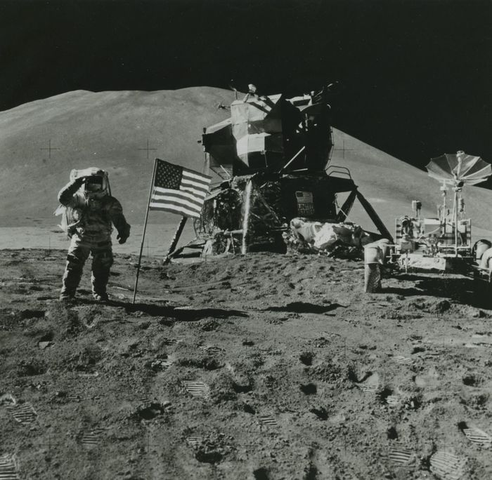 NASA - Apollo 15, Astronaut Irwin saluting beside the flag, 1971