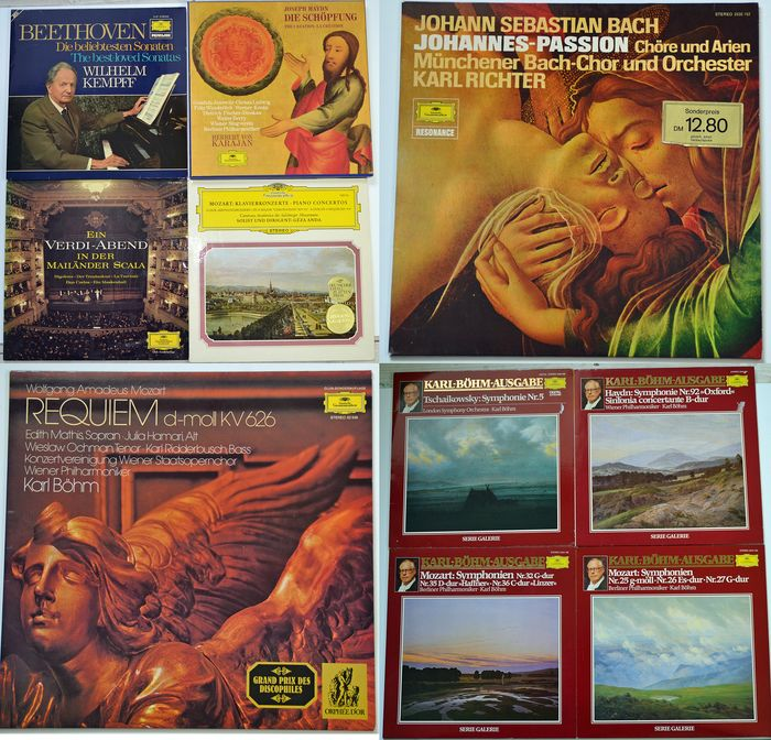 10 Albums  Deutsche Grammophon Mozart Beethoven Bach Joseph Haydn Herbert von Karajan the Creation  - Multiple artists - Multiple titles - LP Box set, LP's - 1965/1974