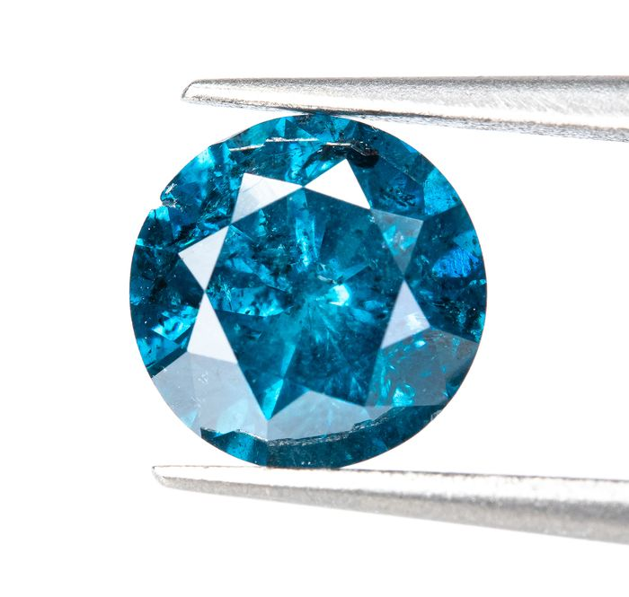 Diamante - 0.94 ct - Fancy INTENSE Blu - I2  *NO RESERVE*